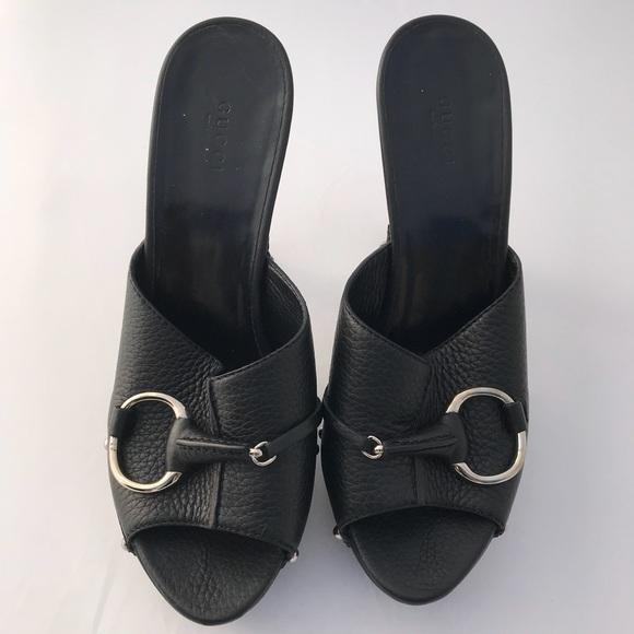 79bc8fea959 Gucci Shoes - Gucci Black Leather Horse Bit Open Toe Clog 40 10